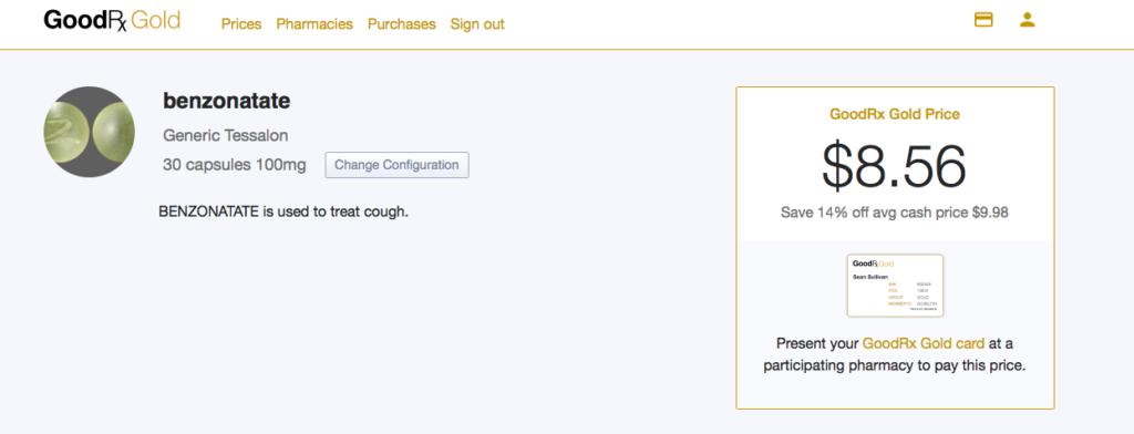 GoodRX GOLD Drug Price Comparison Benzonatate