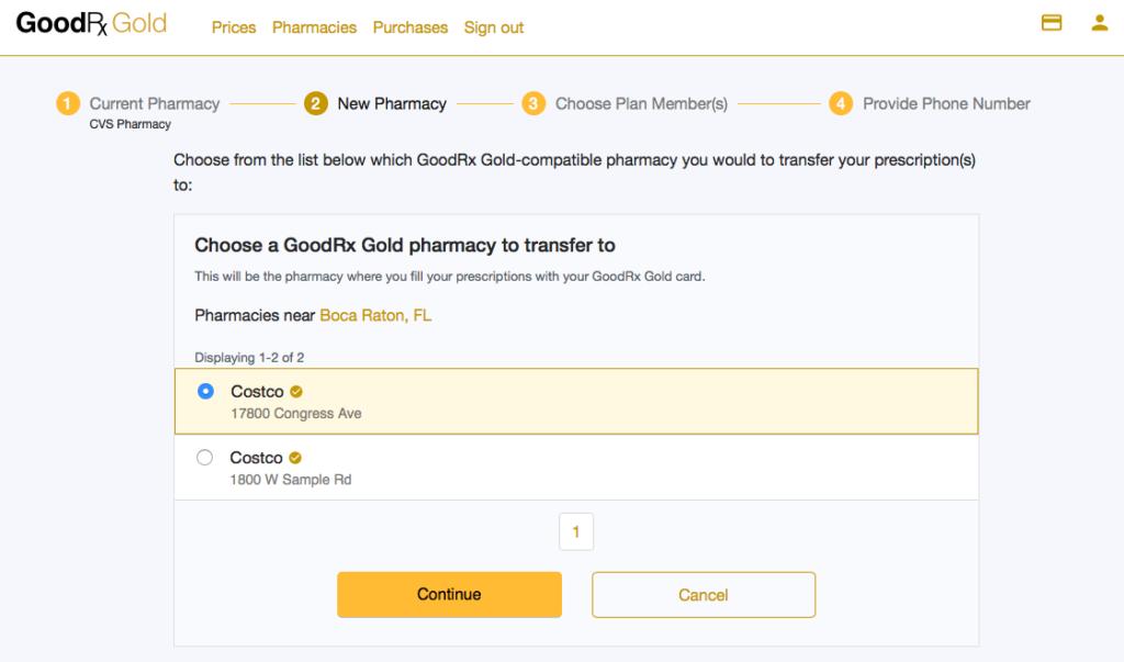 GoodRX GOLD Transfer Prescription