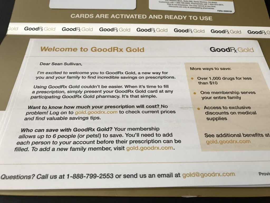 The GoodRx Gold Card Welcome Letter